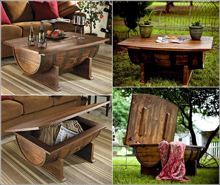 Home Style With Amazing Vineyard Coffee Table From An Old Wine Barrel? It  Is So Cool For A Modern Home .