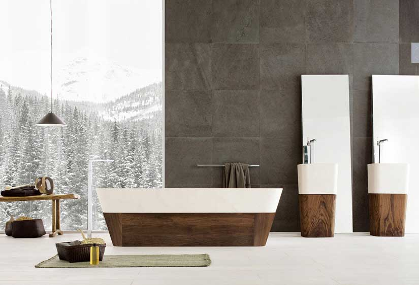 Traditional And Modern Materials Bathrooms