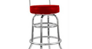 14 Inch Round X 41 38 Inch Red Seat Double Ring Bar Stool regarding Red Swivel Bar Stools