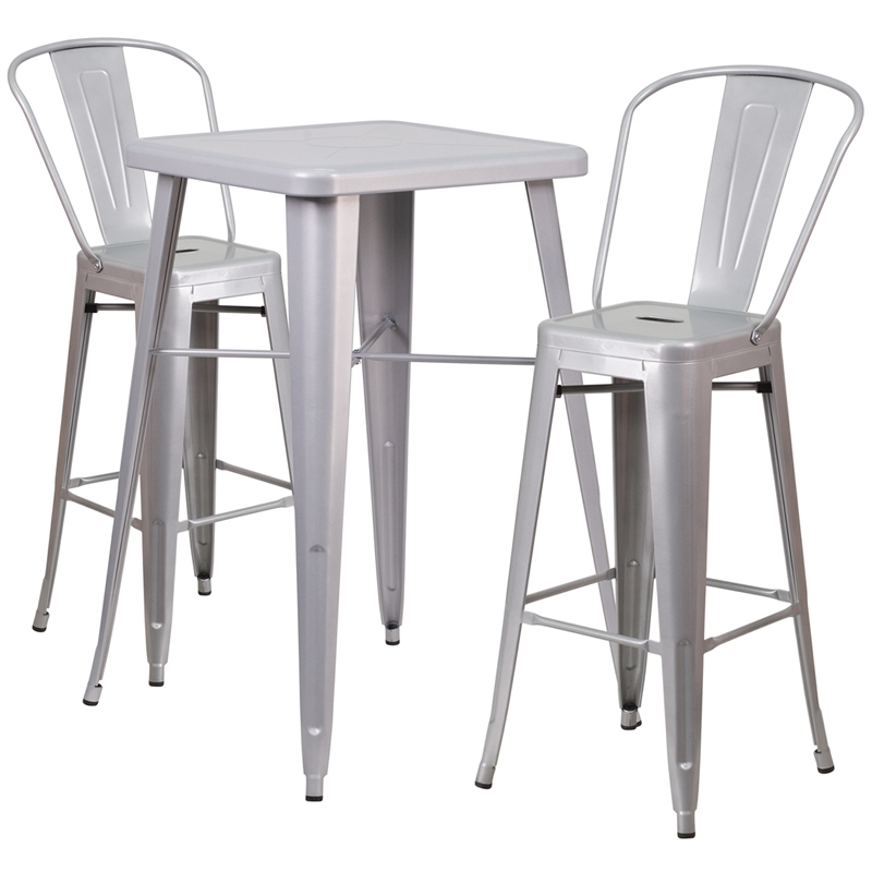 23753939 Square Silver Metal Indoor Outdoor Bar Table Set With 2 within Outdoor Metal Bar Stools
