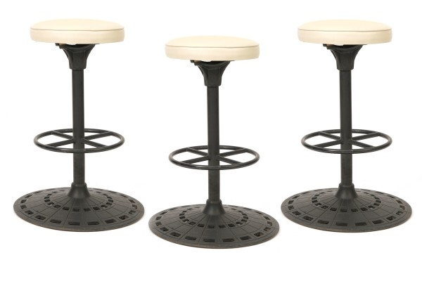 3 Cast Iron Amp Leather Barstools Red Modern Furniture with regard to cast iron bar stools regarding Your property