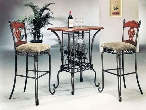 3 Piece Bar Table Set With Wine Rack Base Bar Table And 2 Bar within 3 Piece Bar Stool Set