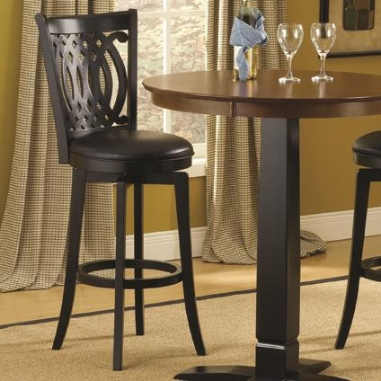 30 Inch Swivel Bar Stool With Upholstered Seat And Designed Back with 30 Inch Bar Stools