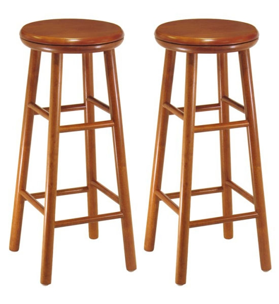 30 Inch Wooden Swivel Bar Stools Cherry Set Of 2 In Wood Bar in Wood Swivel Bar Stool