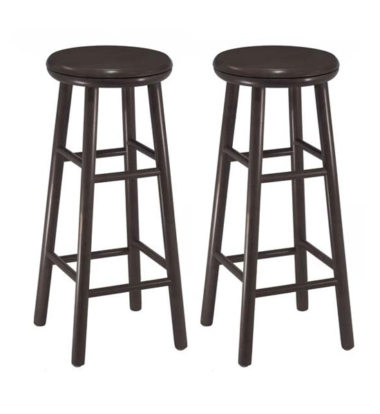 30 Inch Wooden Swivel Bar Stools Espresso Set Of 2 In Wood Bar pertaining to Espresso Bar Stools