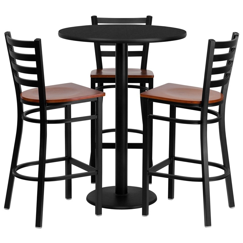 30quot Round Black Laminate Table Set With 3 Ladder Back Metal Bar for Bar Stools And Table Set