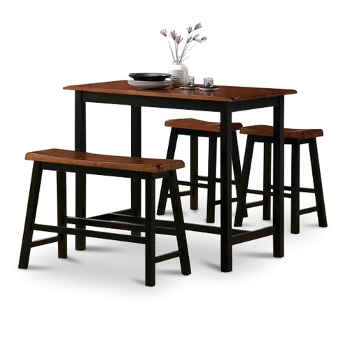 4 Piece Natural Oak Finish Table Saddle Barstools Set intended for Bar Stools And Table Set