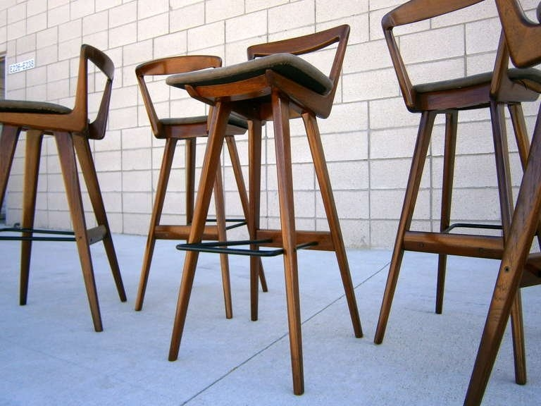 A Set Of Five Rosengren Hansen Walnut Stained Teak Bar Stools C in Stylish as well as Stunning bar stool set of 4 with regard to Your home