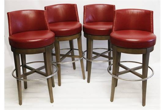 A Set Of Four Modern 39cardinal39 Bar Stools Philippe Hurel With for The Most Incredible along with Gorgeous red leather bar stools with regard to Current House