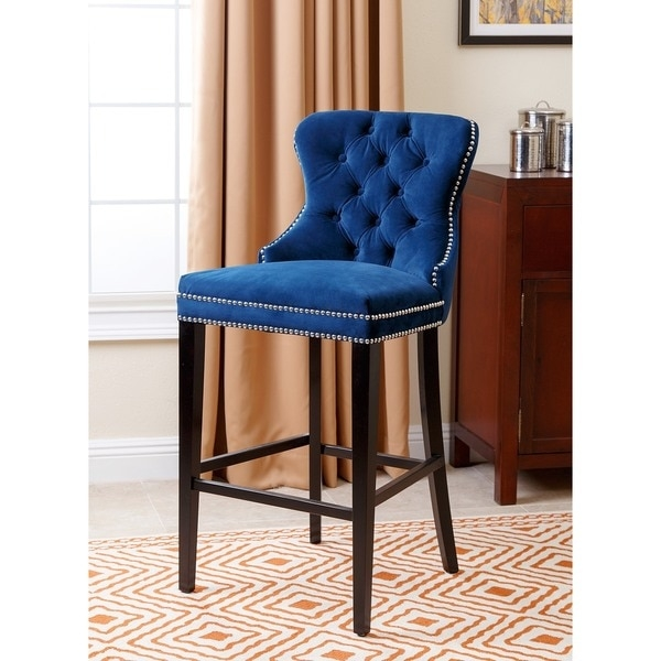 Abson Living Absone Living Versailles Tufted Bar Stool Navy throughout The Incredible and also Attractive navy blue bar stools intended for Household