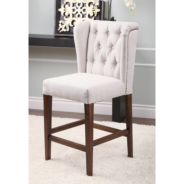 Abson Living Monica Pedersen Dove Grey Tufted Linen Counter within Tufted Bar Stool