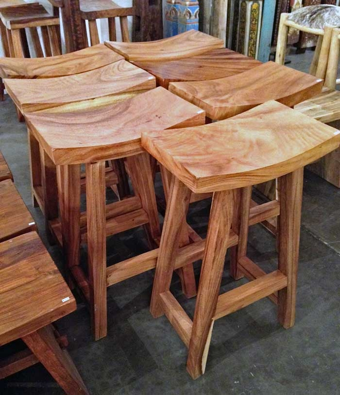Acacia Wood Counter Height Stoolimpact Imports intended for Wooden Saddle Bar Stools