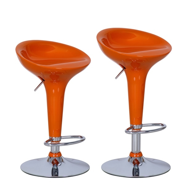 Adeco Orange Adjustable Chrome Barstools Set Of 2 16357039 with regard to bar stool chairs with regard to Motivate