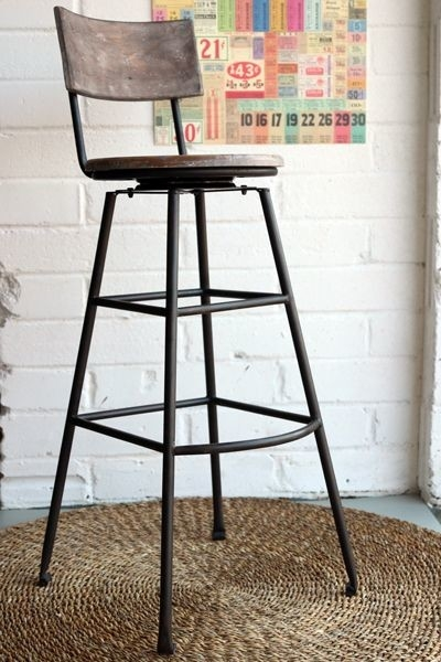 Aged Wood Extra Tall Iron Bar Stool intended for Tall Bar Stools