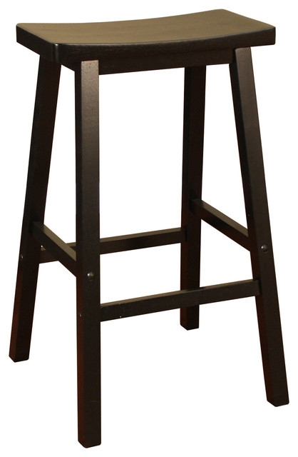 American Heritage Wood Saddle Stool In Black Traditional Bar with Wooden Saddle Bar Stools
