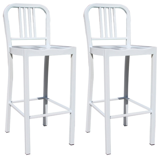 Amerihome 2 Piece Metal Counter Height Chair Set White Bar throughout Metal Bar Stools With Back