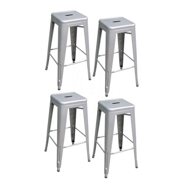 Amerihome Loft Series 30 In Metal Bar Stool Set In Silver 4 Pack within Stylish as well as Stunning bar stool set of 4 with regard to Your home