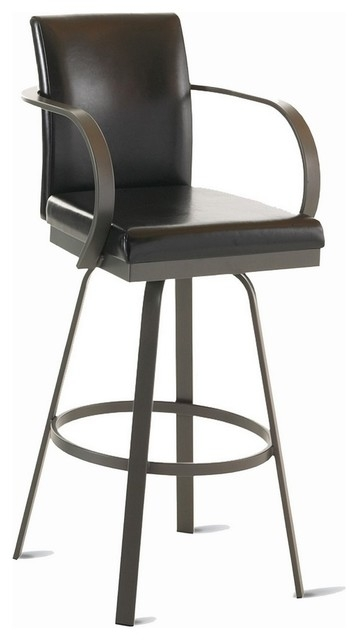 Amisco Lance Upholstered Back Swivel Stool With Arms 41436 throughout Bar Stools With Backs And Arms And Swivels