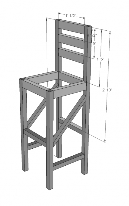 Ana White Extra Tall Bar Stool Diy Projects regarding how to build a bar stool for The house