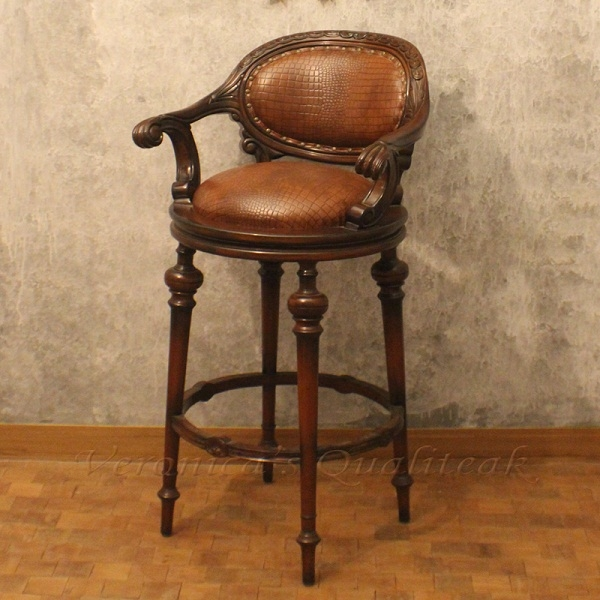 Antique Swivel Wooden Bar Stool Leather Upholstered inside Antique Bar Stools