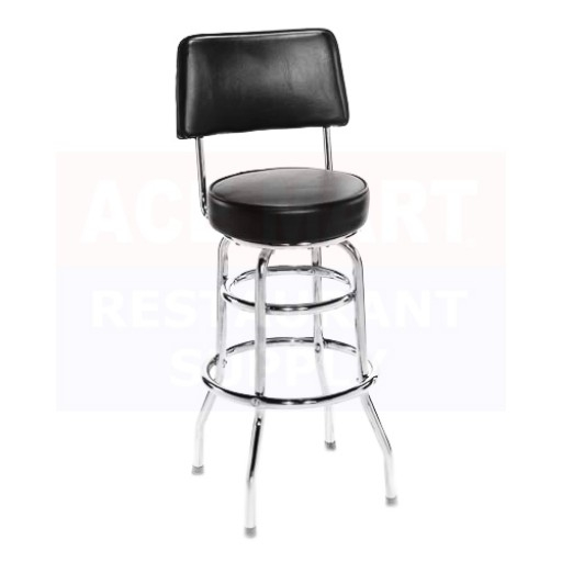 Attco Bs Wb Blk Double Foot Ring Metal Swivel Bar Stool W Black inside Black Swivel Bar Stools With Back