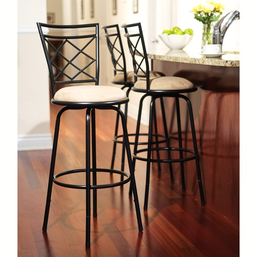 Avery Adjustable Metal Barstools 3 Piece Set Black throughout 3 bar stools with regard to Residence