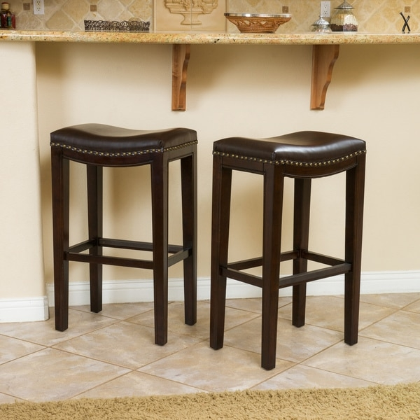 Avondale Brown Bonded Leather Backless Barstool Set Of 2 throughout Bar Stools Backless