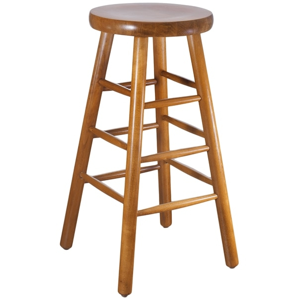 Backless Beech Wood Bar Stool 16293592 Overstock Shopping in Wood Backless Bar Stools