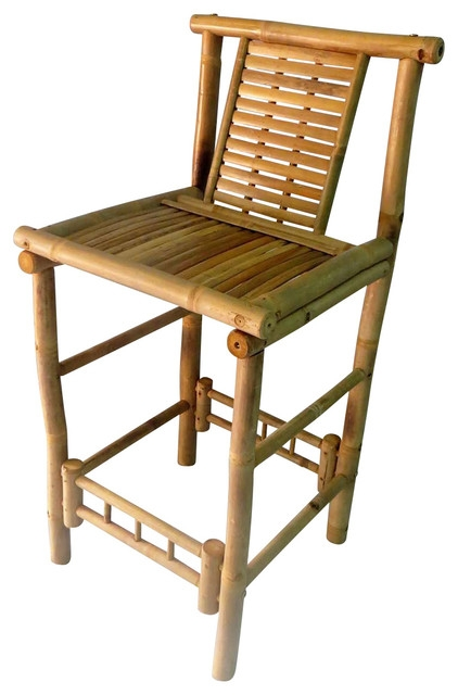 Bamboo Tiki Bar Stool With Back Support 18x45 Set Of 2 Bar with regard to bamboo bar stools regarding  Home