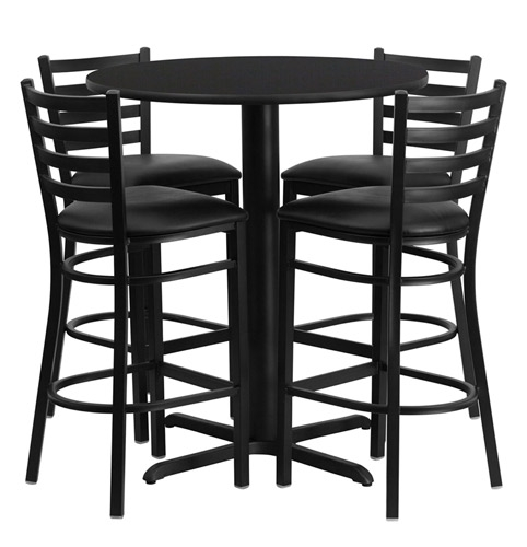 Bar Height Round Dining Table Set With 4 Bar Stool Chairs intended for Incredible  bar stools and table set for Invigorate