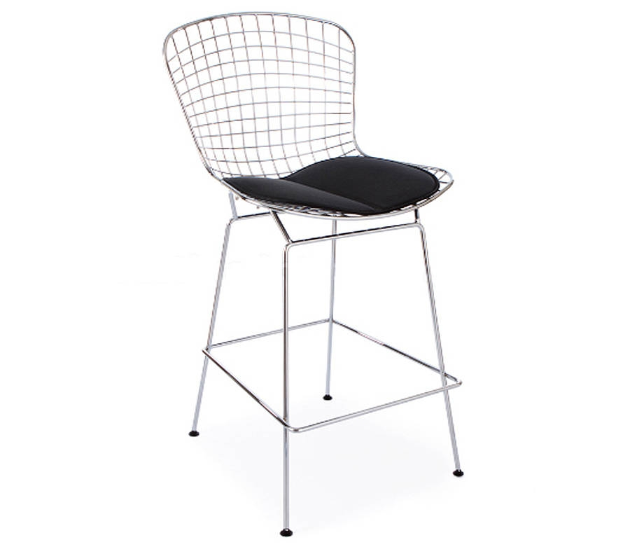 Bar Stool In Black Or Chrome Retro Modern Style Ciel in Chrome Bar Stool