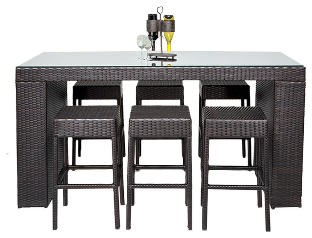 Bar Table Set With Backless Barstools Tropical Outdoor Dining in Bar Stools And Table Set