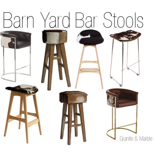 Barn Yard Bar Stools Polyvore regarding Cowhide Bar Stools