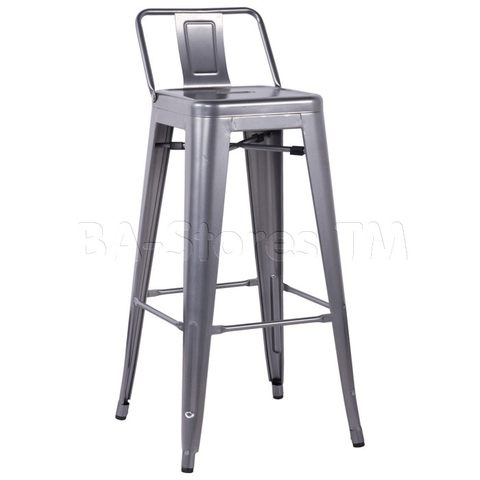 Barstools Galvanized Steel Bar Stool Gun Metal Set Of 4 8030 within Chintaly Bar Stools