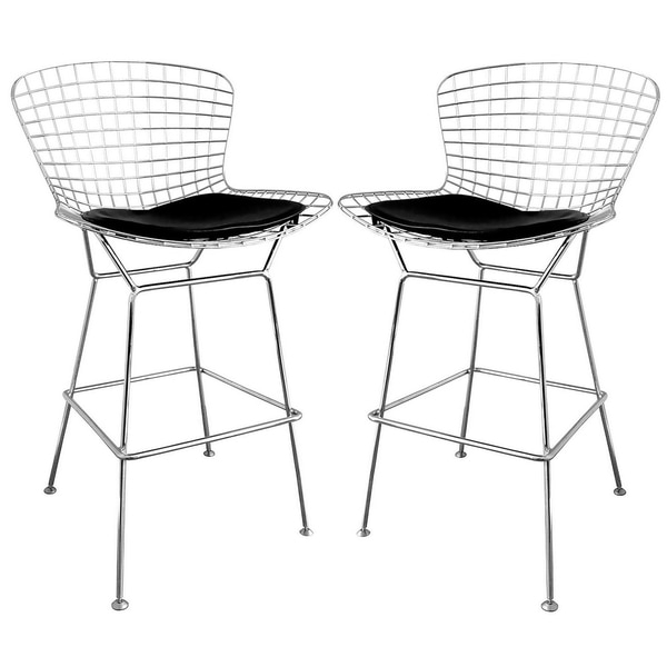Baxton Studio 39tomkin39 Mesh Bar Stools With Leatherette Seat Pad pertaining to Amazing  wire bar stools regarding Wish
