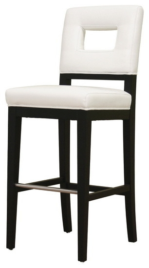 Baxton Studio Faustino White Leather Barstool Transitional Bar within White Leather Bar Stools
