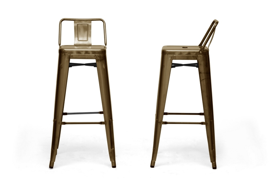 Baxton Studio French Industrial Modern Bar Stool In Bronze With intended for Bronze Bar Stools