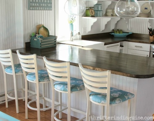 Beachy Kitchen Makeover With Awesome Nautical Lobster Fabric Bar regarding The Brilliant as well as Lovely nautical bar stools for Warm