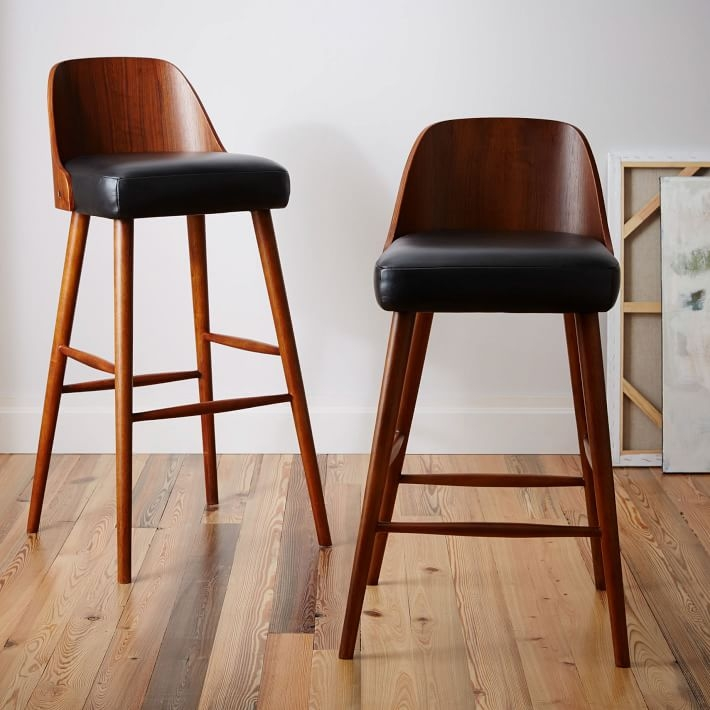 Bentwood Leather Bar Counter Stools West Elm with Leather Bar Stools