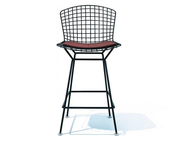 Bertoia Stool With Seat Cushion Hivemodern for Bertoia Bar Stool