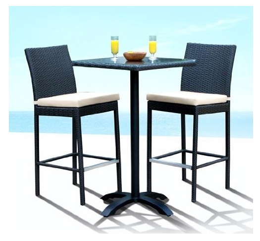 Best 5 Wicker Bar Sets Outdoor Furniture intended for 3 Piece Bar Stool Set