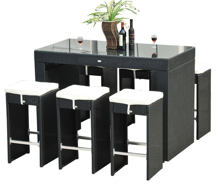 Best 5 Wicker Bar Sets Outdoor Furniture regarding bar table and stool set for Current Residence