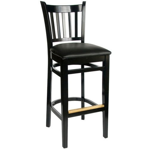Bfm Seating Delran Black Wood Slat Back Bar Stools With Padded intended for Black Wooden Bar Stools