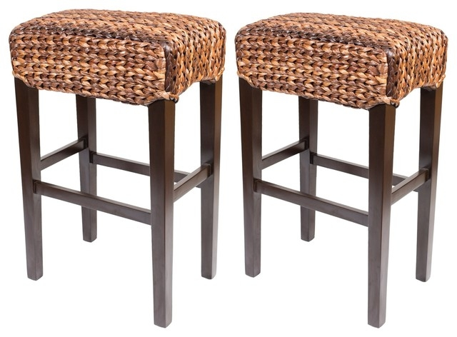 Bird Rock Seagrass Backless Barstool Bar Height Tropical Bar with Tropical Bar Stools