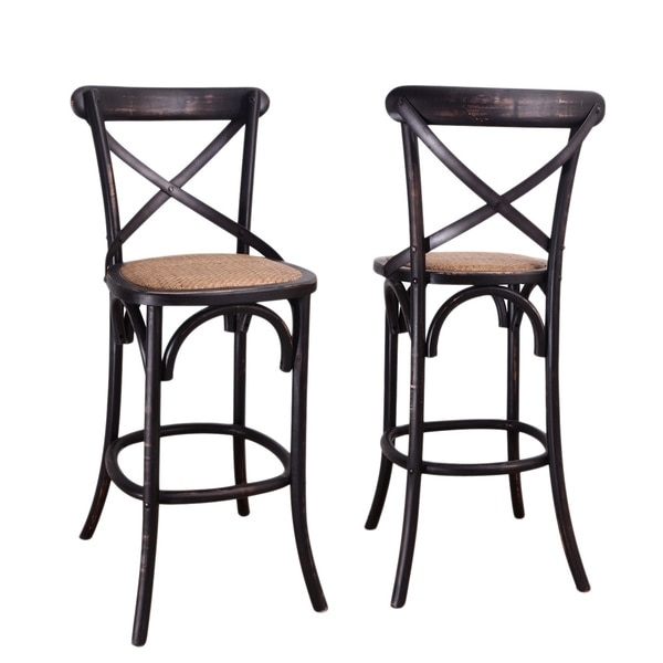 Black Elm Wood Rattan Antique Bistro Bar Stool 16198411 intended for Bistro Bar Stools