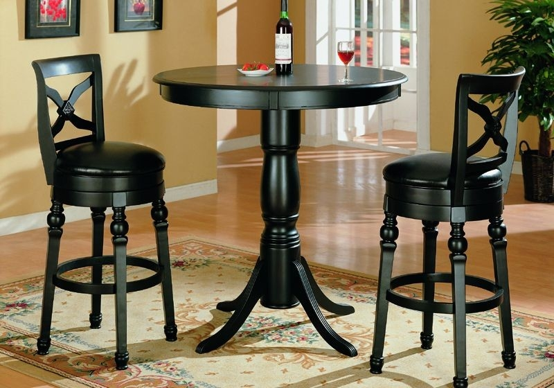 Black Finish Pub Table And Two Swivel Bar Stools Set Wall Hung regarding bar table and stool set for Current Residence