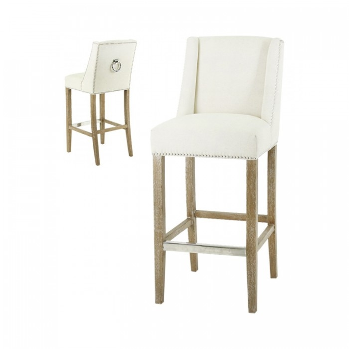Black Orchid Luxury Ecru Linen Bar Stool With Silver Studs intended for Linen Bar Stools