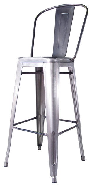 Bouchon Frenchquotdustrial Steel With Back Cafe Counter Stool Set Of in Metal Bar Stools With Back