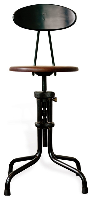 Brexton Adjustable Height Cast Iron Industrial Desk Dining Stool throughout Cast Iron Bar Stools