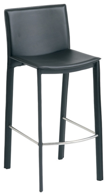 Bridget Black Leather Counter Stool Nuevo Bar Stools And pertaining to Amazing in addition to Interesting black leather bar stools intended for The house
